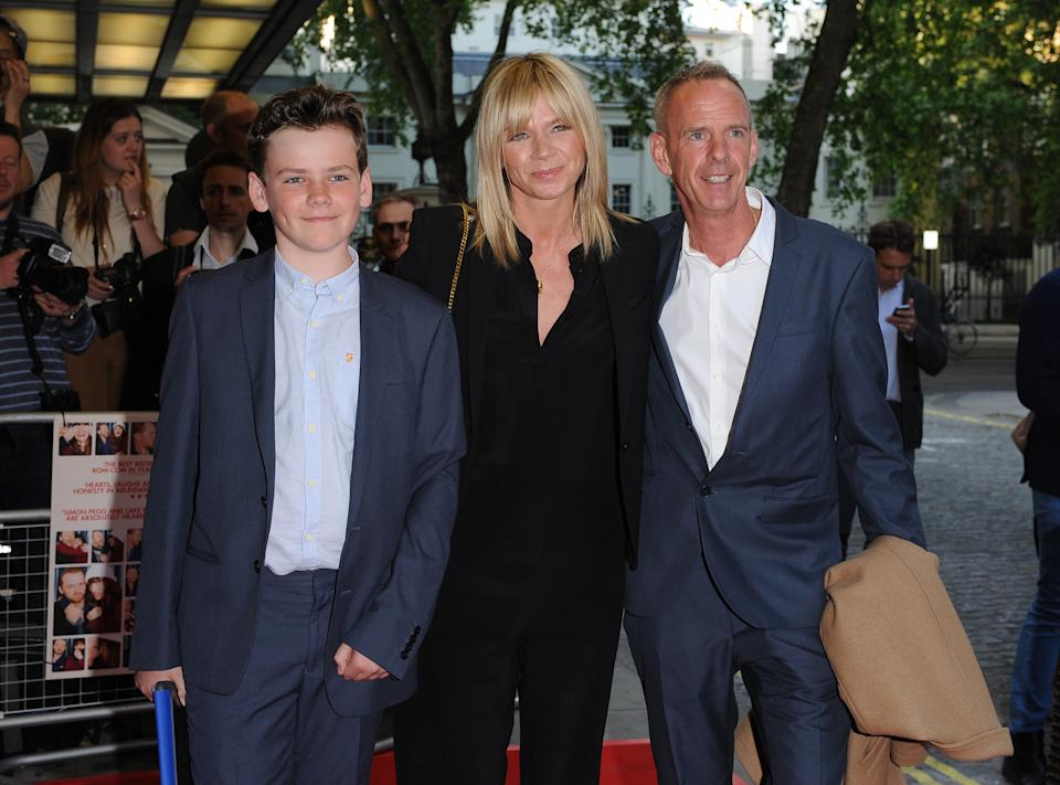 LONDON, UNITED KINGDOM - MAY 13: Zoe Ball, Norman Cook and son Woody attend the UK Gala screening of 'Man Up' at Curzon Mayfair on May 13, 2015 in London, England.  PHOTOGRAPH BY Paul Treadway / Barcroft Media (Photo credit should read Paul Treadway / Barcroft Media via Getty Images)