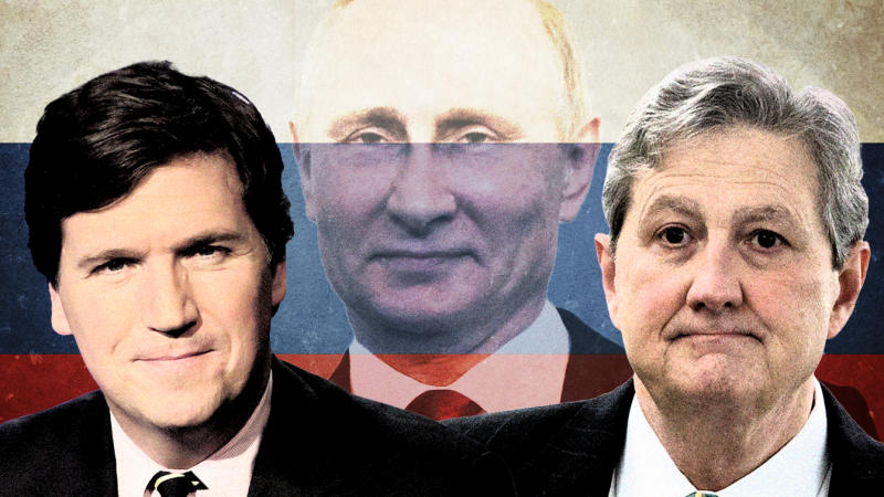 From left, Tucker Carlson, Vladimir Putin and John Kennedy