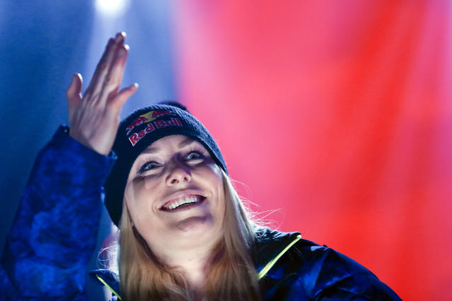 Third placed United States' Lindsey Vonn poses during the medal ceremony for the women's downhill race at the alpine ski World Championships in Are, Sweden, Sunday, Feb.10, 2019. (AP Photo/Gabriele Facciotti)