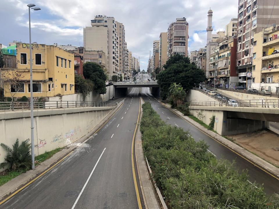 A view of empty road as Lebanon tightened lockdown and introduced a 24-hour curfew to curb the spread of the coronavirus disease (COVID-19) in Beirut (REUTERS)