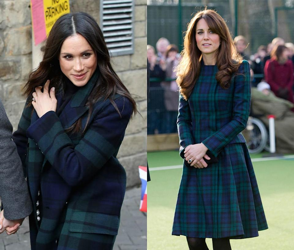 """<p><strong>When: Feb. 13, 2018</strong><br>She completed the look with a very Scottish green Strathberry crossbody bag (which, of course, is already sold out). Gorgeous — but we cant help but think Markle is taking a style cue from Kate Middleton, who is also a fan of tartan! Markle's Burberry coat resembles the <a rel=""""nofollow noopener"""" href=""""https://www.net-a-porter.com/us/en/product/321304/mcq_alexander_mcqueen/tartan-wool-dress"""" target=""""_blank"""" data-ylk=""""slk:$789 CAD green tartan dress from Q by McQueen"""" class=""""link rapid-noclick-resp"""">$789 CAD green tartan dress from Q by McQueen</a> that the Duchess of Cambridge sported while celebrating St Andrew's Day in 2012. </p>"""