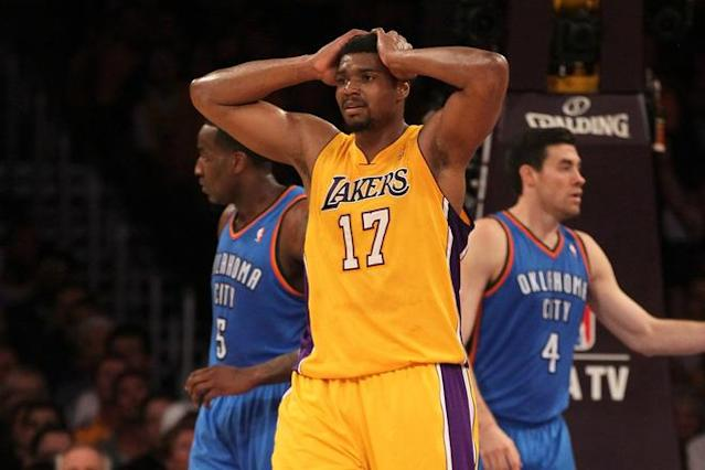 LOS ANGELES, CA - MAY 19: Andrew Bynum #17 of the Los Angeles Lakers reacts in the first period while taking on the Oklahoma City Thunder in Game Four of the Western Conference Semifinals in the 2012 NBA Playoffs on May 19 at Staples Center in Los Angeles, California. NOTE TO USER: User expressly acknowledges and agrees that, by downloading and or using this photograph, User is consenting to the terms and conditions of the Getty Images License Agreement. (Photo by Stephen Dunn/Getty Images)