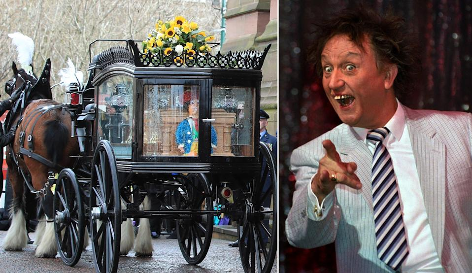 The funeral cortege arrives at Liverpool Anglican Cathedral ahead of the funeral service of Sir Ken Dodd. (PA)