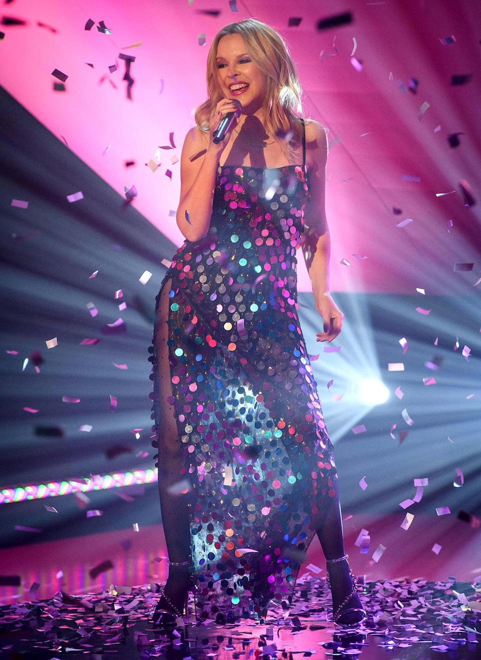 <p>Kylie Minogue performs during <em>The Graham Norton Show</em> at BBC Studioworks 6 Television Centre on Thursday in London.</p>