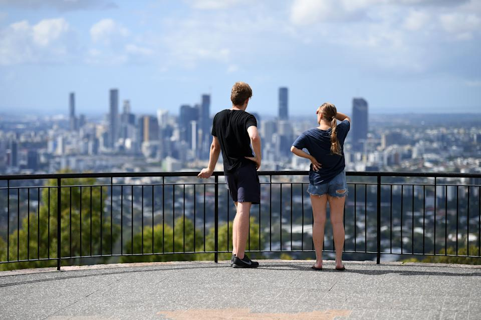 A couple looking at the view over Brisbane. Source: AAP