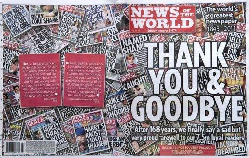 "A copy of the front and back page wrap of the last edition of the British tabloid newspaper, the News of the World, is pictured on July 10, 2011. Rupert Murdoch has admitted there was a ""cover-up"" over phone hacking at the now-defunct tabloid but tried to shift the blame away from himself and senior executives at his media empire"