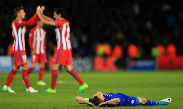 "<span class=""element-image__caption"">Jamie Vardy displays Leicester City's despair as the Atlético Madrid players celebrate after the Champions League quarter-final second leg draw at the King Power Stadium.</span> <span class=""element-image__credit"">Photograph: Richard Heathcote/Getty Images</span>"