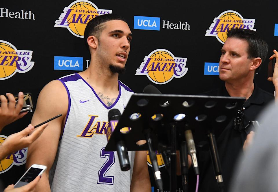 LOS ANGELES, CA - MAY 29:  LiAngelo Ball #2 talks to members of the media following his participation in the Los Angeles Lakers 2018 NBA Pre-Draft Workout on May 29, 2018 in Los Angeles, California.  NOTE TO USER: User expressly acknowledges and agrees that, by downloading and or using this photograph, User is consenting to the terms and conditions of the Getty Images License Agreement.  (Photo by Jayne Kamin-Oncea/Getty Images)
