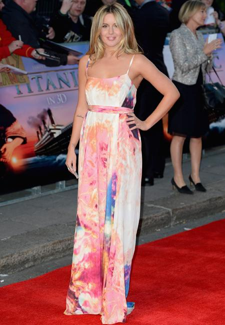Celebrity fashion: Made In Chelsea's Caggie Dunlop wore a painted maxi dress to the Titanic 3D premiere but failed to maximize her fashion potential. It was more fitting for the beach then the red carpet. Sorry Caggie!