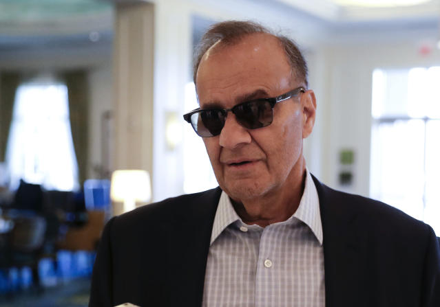 Major League Baseball chief baseball officer Joe Torre speaks with a reporter at the baseball owners meetings Thursday, Feb. 7, 2019, in Orlando, Fla. (AP Photo/John Raoux)