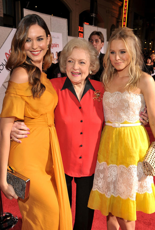 """<a href=""""http://movies.yahoo.com/movie/contributor/1808913920"""">Odette Yustman</a>, <a href=""""http://movies.yahoo.com/movie/contributor/1800022900"""">Betty White</a> and <a href=""""http://movies.yahoo.com/movie/contributor/1808491155"""">Kristen Bell</a> attend the Los Angeles premiere of <a href=""""http://movies.yahoo.com/movie/1810111331/info"""">You Again</a> on September 22, 2010."""