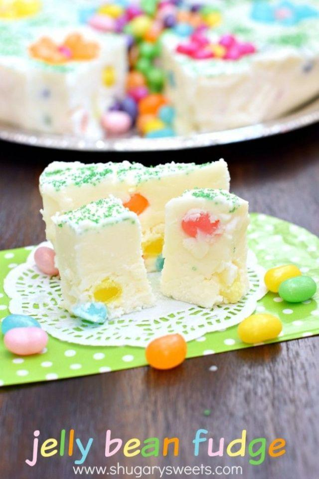 """<p>While this dessert takes less than five minutes to make, it needs to chill for at least four hours. We know, that's a long time, but it'll be <em>so</em> worth it when you dig in, we promise. </p><p><strong>Get the recipe at <a href=""""http://www.shugarysweets.com/2015/03/jelly-bean-fudge"""" rel=""""nofollow noopener"""" target=""""_blank"""" data-ylk=""""slk:Shugary Sweets"""" class=""""link rapid-noclick-resp"""">Shugary Sweets</a>. </strong></p>"""