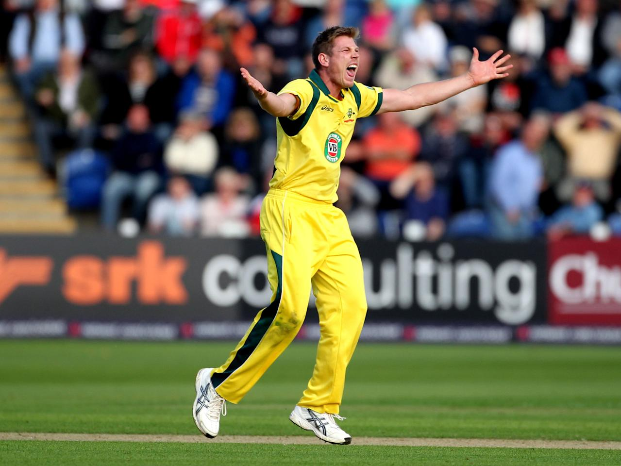Australia's James Faulkner appeals successfully for the wicket of England's Ravi Bopara during the fourth one day international at the SWALEC Stadium, Cardiff.