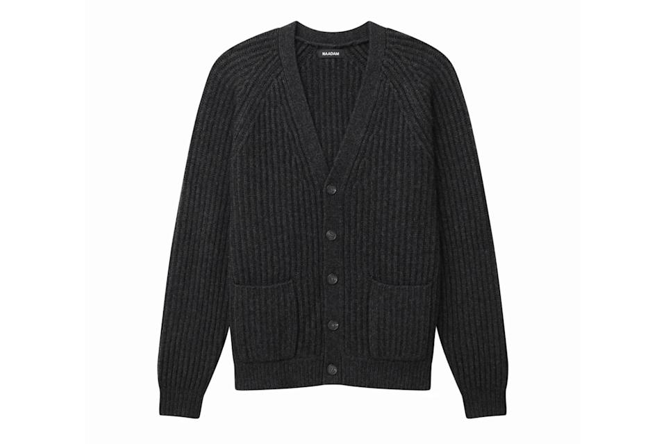 "$195, Naadam. <a href=""https://naadam.co/collections/mens/products/ribbed-cardigan?variant=32615827046496"" rel=""nofollow noopener"" target=""_blank"" data-ylk=""slk:Get it now!"" class=""link rapid-noclick-resp"">Get it now!</a>"