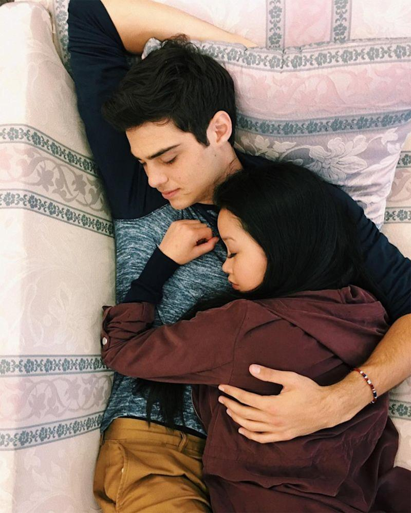 Noah Centineo and Lana Condor while filming <em>To All the Boys</em>