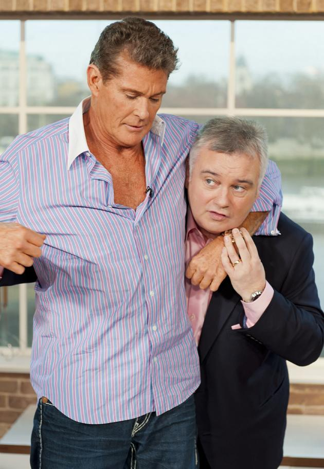 David Hasselhoff appeared on This Morning earlier this week and got up close and personal with Eamonn Holmes and Ruth Langsford. He hugged Ruth before getting Eamonn in a headlock. Boys will be boys, eh?!