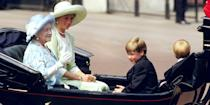 <p>Queen Elizabeth, Princess Diana, William, and Harry ride back to Buckingham Palace during the ceremonies of the Trooping of the Colour. </p>