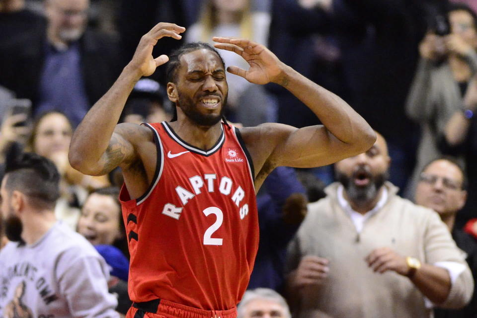 Twitter was super confused by Kawhi Leonard signing an endorsement deal with sneaker company New Balance. (Frank Gunn/The Canadian Press via AP)