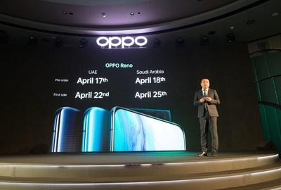 OPPO Reno Pre-order and First Sale dates announced by Andy Shi, President, MEA, OPPO (PRNewsfoto/OPPO)
