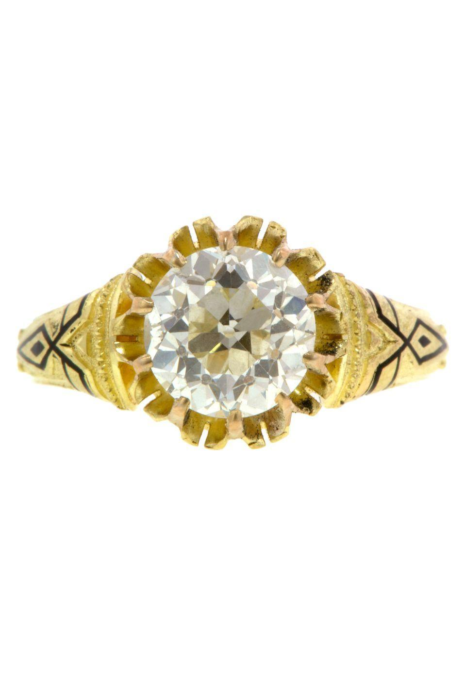 "<p><strong><em>Doyle & Doyle </em></strong><em>Old European Cut Diamond Solitaire Engagement Ring With Black Enamel Detail, circa 1870, </em><em>$22,000, <a href=""http://www.doyledoyle.com/099288r"" rel=""nofollow noopener"" target=""_blank"" data-ylk=""slk:doyledoyle.com"" class=""link rapid-noclick-resp"">doyledoyle.com</a><br></em></p><p><a class=""link rapid-noclick-resp"" href=""http://www.doyledoyle.com/099288r"" rel=""nofollow noopener"" target=""_blank"" data-ylk=""slk:SHOP"">SHOP</a></p>"