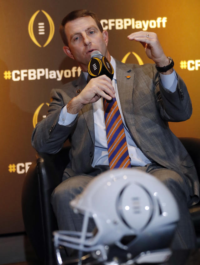 Clemson coach Dabo Swinney speaks during a news conference Thursday, Dec. 6, 2018, in Atlanta. Clemson is one of the four teams in the College Football Playoff. (AP Photo/John Bazemore)
