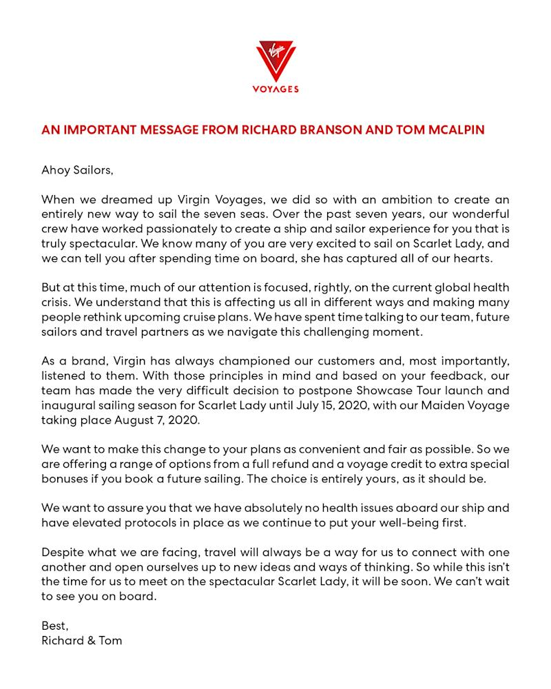 Virgin Voyages statement on launch delay