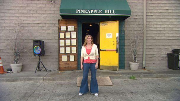 PHOTO: Angela Marsden, owner of Pineapple Hill Grill and Saloon, stands in front of her business, which has struggled to make ends meet during the pandemic.  (ABC News )
