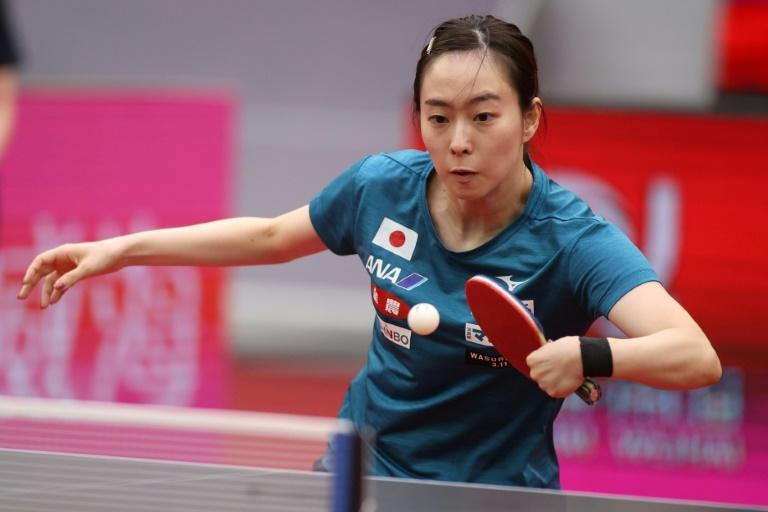 Kasumi Ishikawa of Japan plays a shot during a practice session at the Women's World Cup in Weihai