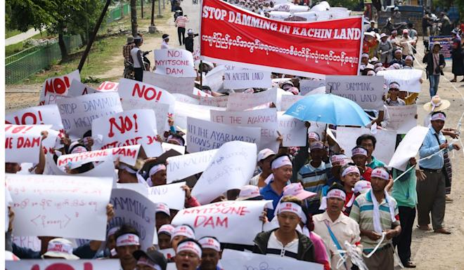 Kachin state residents protest against the Myitsone dam project in April. Photo: AFP