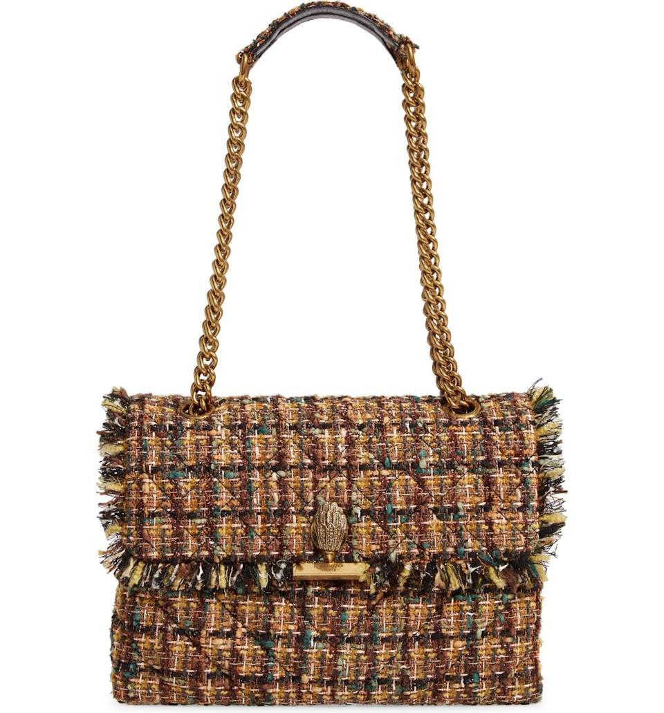 <p>If you're drawn to colorful accessories, then opt for this <span>Kurt Geiger Large Kensington X Tweed Shoulder Bag</span> ($225), which introduces different hues in a subdued yet still eye-catching way. From the colorful tweed to the crystal-encrusted eagle head, it will make a fierce and fashionable addition to your closet.</p>