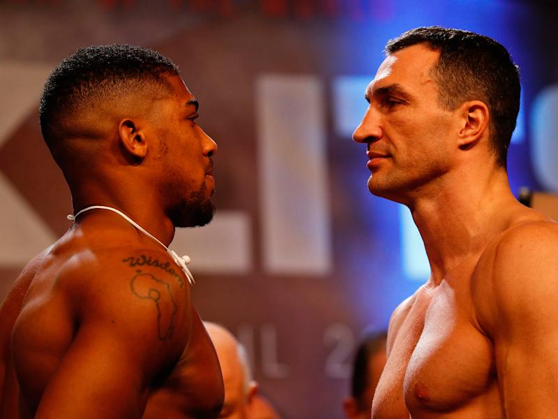 The pair meet at Wembley on Saturday night in a hotly-anticipated heavyweight title contest: Getty