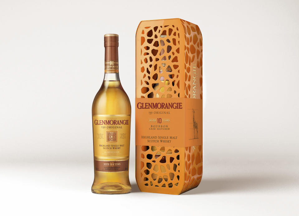 This image provided by Glenorangie shows Glenorangie's Giraffe Tin. To enjoy the occasional beverage and also help wildlife, consider Glenorangie's Giraffe Tin. The Highland Scotch maker's stills are the tallest in Scotland, as tall as a giraffe, and the collectible tin is patterned like the animal's coat. Each purchase supports the Giraffe Conservation Foundation. (Glenorangie via AP)