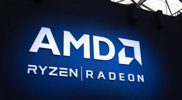 Advanced Micro Devices (AMD) billboard showing two of its popular product lines, Ryzen and Radeon.