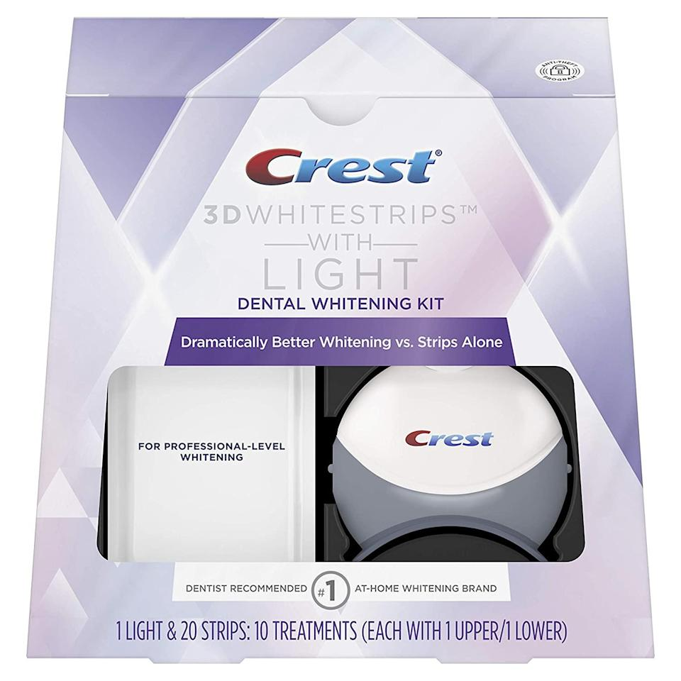 """<br><br><strong>Crest</strong> Crest 3D White Whitestrips with Light, $, available at <a href=""""https://amzn.to/34R1Afb"""" rel=""""nofollow noopener"""" target=""""_blank"""" data-ylk=""""slk:Amazon"""" class=""""link rapid-noclick-resp"""">Amazon</a>"""