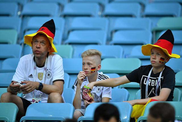 Soccer Football - World Cup - Group F - Germany vs Sweden - Fisht Stadium, Sochi, Russia - June 23, 2018 Germany fans inside the stadium before the match REUTERS/Dylan Martinez