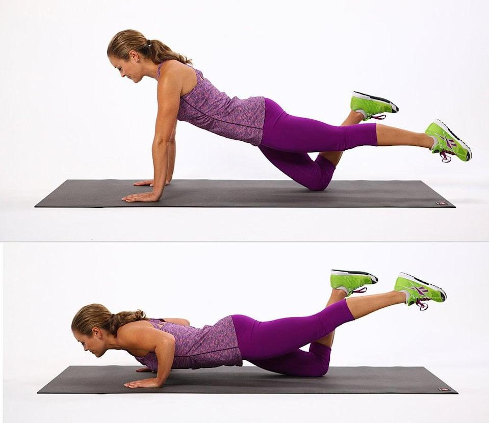 <ul> <li>Start on your hands and knees.</li> <li>Extend your left leg behind you so it's parallel with the floor. Engage your abs.</li> <li>With your leg extended, bend your elbows lowering your torso toward the floor while keeping your left heel in line with your left hip. </li> <li>Straighten your elbows to push yourself away from the floor to complete one rep.</li> </ul>