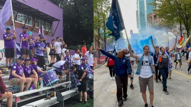 It promises to be a lively match at Langford's Starlight Stadium on Thursday as Pacific FC take on the Vancouver Whitecaps in the Canadian Championship. (Submitted by Island Buoys, Vancouver Southsiders - image credit)