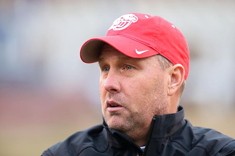 CHARLOTTESVILLE, VA - NOVEMBER 23: Head coach Hugh Freeze of the Liberty Flames looks on before the start of a game against the Virginia Cavaliers at Scott Stadium on November 23, 2019 in Charlottesville, Virginia. (Photo by Ryan M. Kelly/Getty Images)