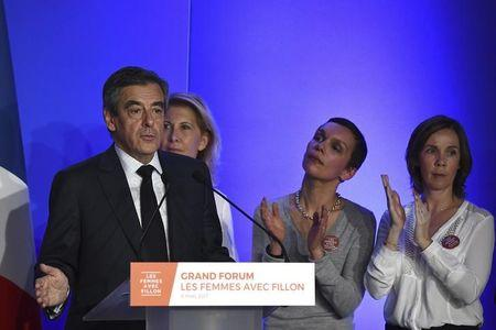 Francois Fillon, former French prime minister, member of The Republicans political party and 2017 presidential election candidate of the centre-right, attends a gathering for Woman's day in Paris