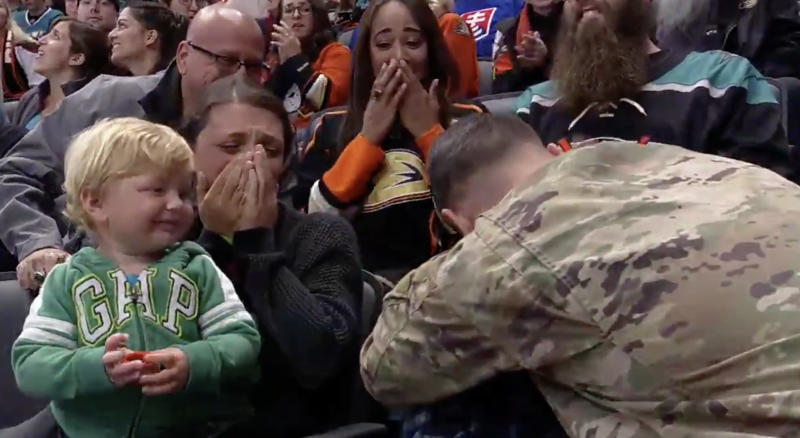 Sgt. Robert Munoz, a huge fan of the Ducks, hadn't seen his family in nearly a year before their reunion at the Honda Center on Saturday night. (Twitter//@AnaheimDucks)