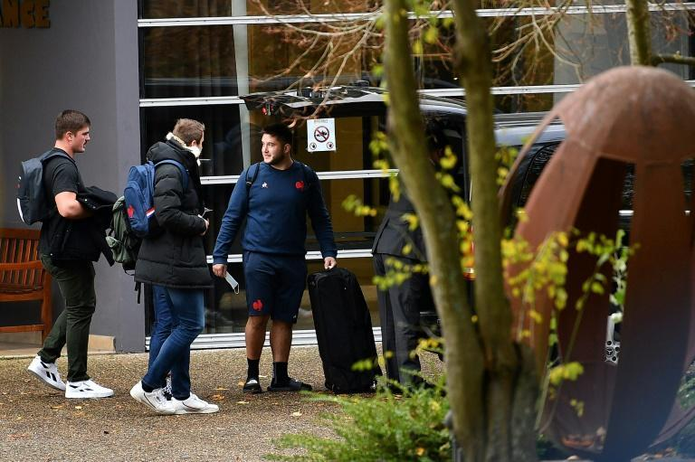 France players leave the national team training complex after the cancellation of the Fiji game