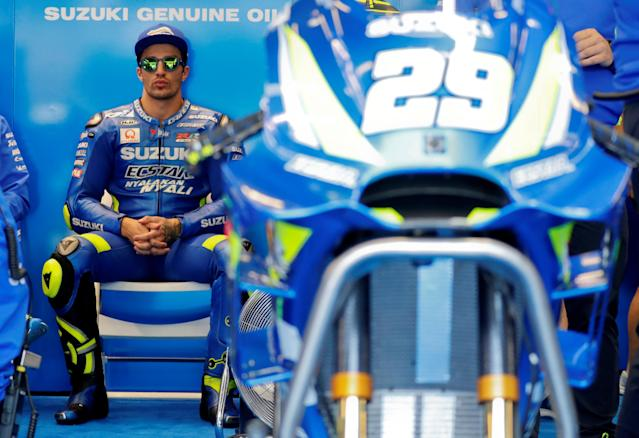 Motorcycling - MotoGP - French Grand Prix - Bugatti Circuit, Le Mans, France - May 18, 2018 Suzuki's Andrea Iannone during practice REUTERS/Gonzalo Fuentes