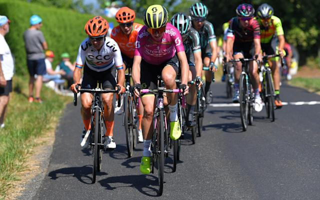 Riders compete during Friday's La Course by Le Tour - Velo