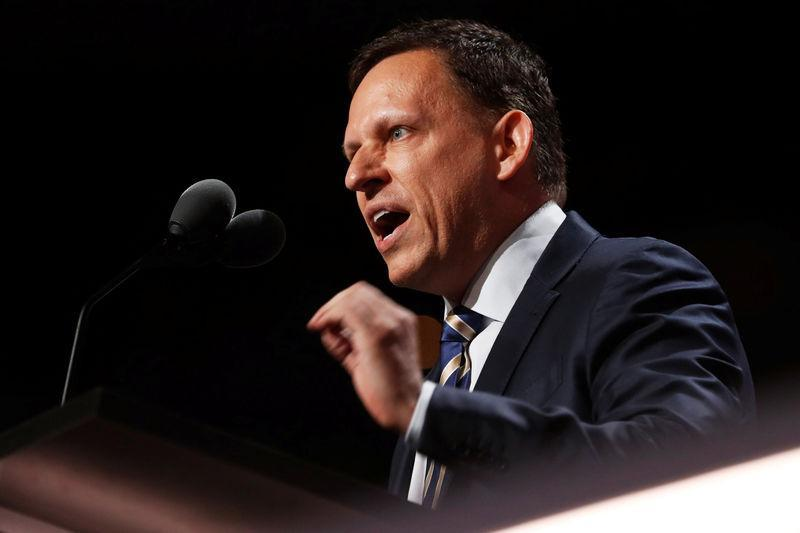 Paypal co-founder Peter Thiel speaks at the Republican National Convention in Cleveland, Ohio, U.S. July 21, 2016. REUTERS/Jonathan Ernst/File Photo