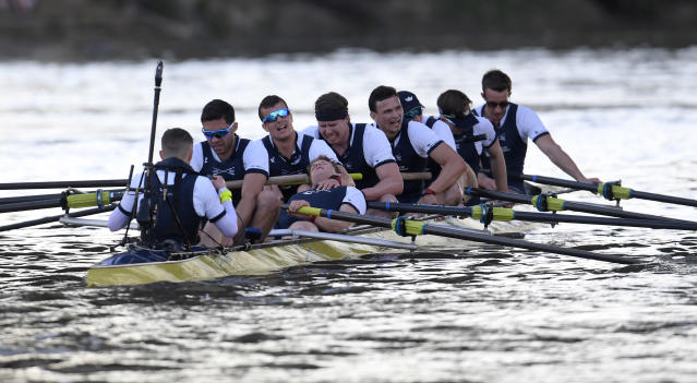 Britain Rowing - 2017 Oxford v Cambridge University Boat Race - River Thames, London - 2/4/17 The Oxford crew react after winning the men's Boat Race Reuters / Toby Melville Livepic