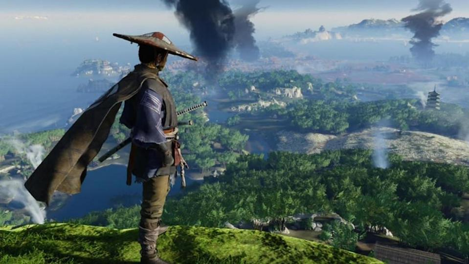 The lead character of Ghost of Tsushima surveys the vast game landscape.