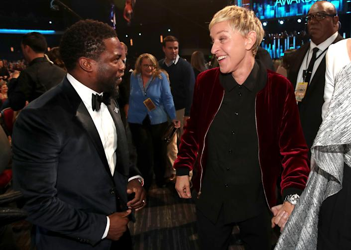 Kevin Hart (L) and TV personality/actress Ellen DeGeneres attend the People's Choice Awards 2017 at Microsoft Theater on January 18, 2017 in Los Angeles, California. (Photo by Christopher Polk/Getty Images for People's Choice Awards)