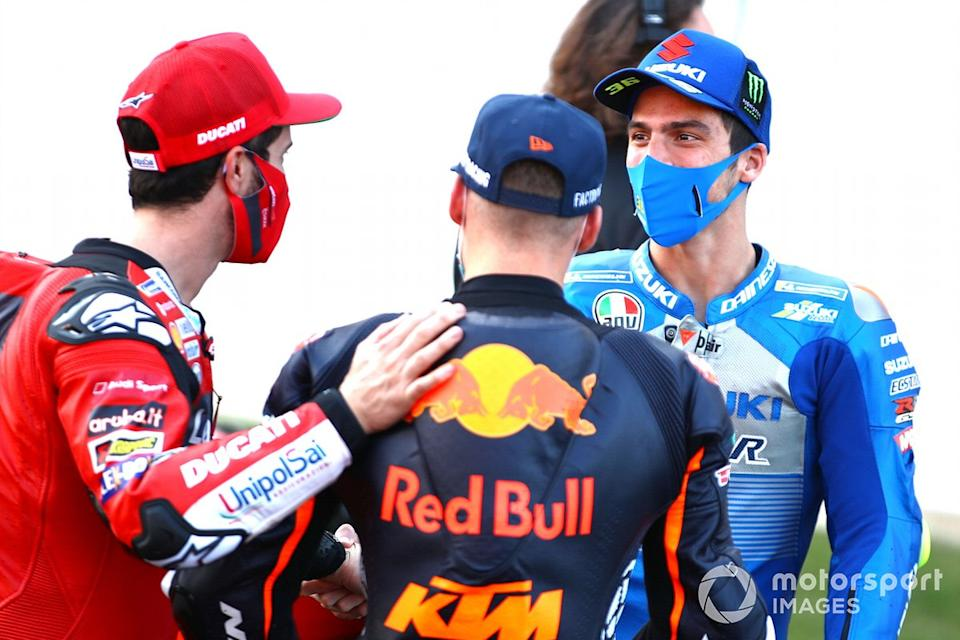 "Andrea Dovizioso, Ducati Team, Brad Binder, Red Bull KTM Factory Racing, Joan Mir, Team Suzuki MotoGP<span class=""copyright"">Gold and Goose / Motorsport Images</span>"