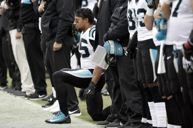 Eric Reid continued his protest during the playing of the national anthem on Sunday in Philadelphia. (AP)