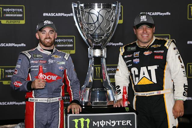 "<a class=""link rapid-noclick-resp"" href=""/nascar/sprint/drivers/1595/"" data-ylk=""slk:Austin Dillon"">Austin Dillon</a> (L) and <a class=""link rapid-noclick-resp"" href=""/nascar/sprint/drivers/176/"" data-ylk=""slk:Ryan Newman"">Ryan Newman</a> made the playoffs in 2017 and are returning to RCR in 2018. (Getty)"